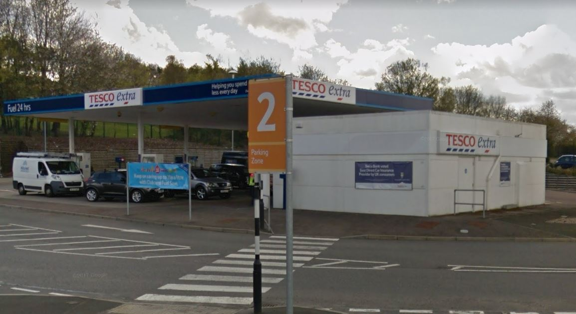 The Tesco petrol station in South Road.