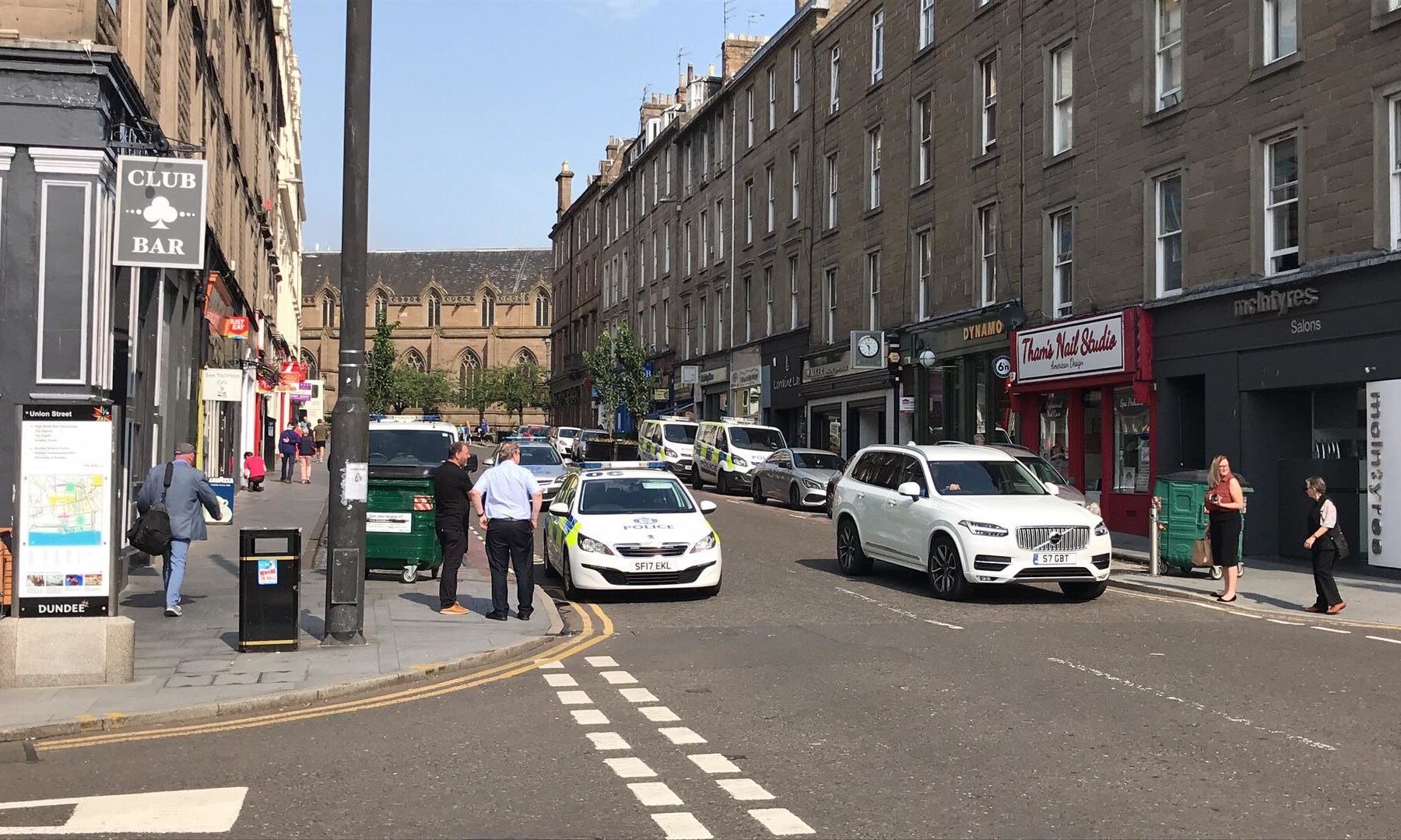 The police presence in Union Street, Dundee.