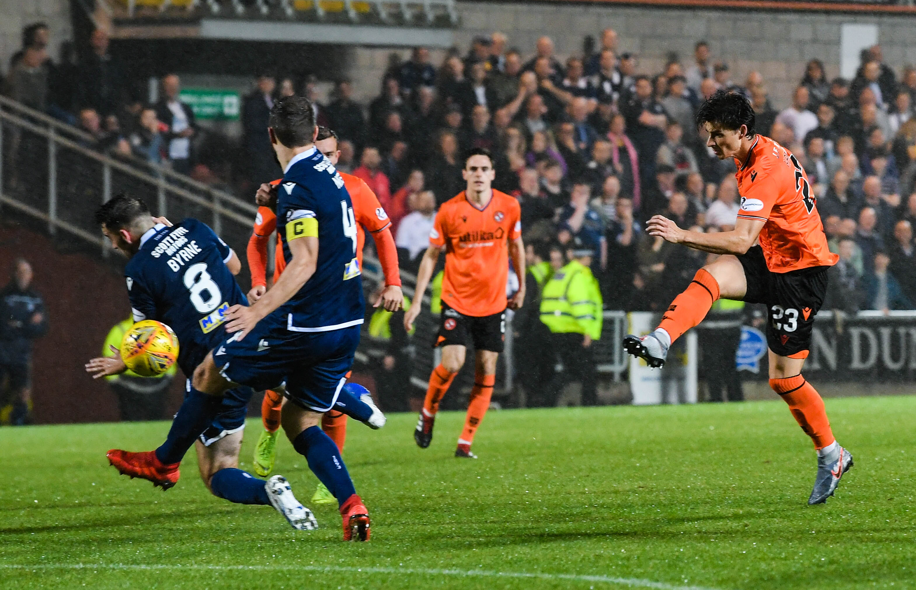 Ian Harkes lashes the ball home to make it 5-1 to Dundee United on the night.