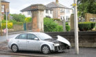 The damaged Audi vehicle after the crash on Arbroath road this morning.