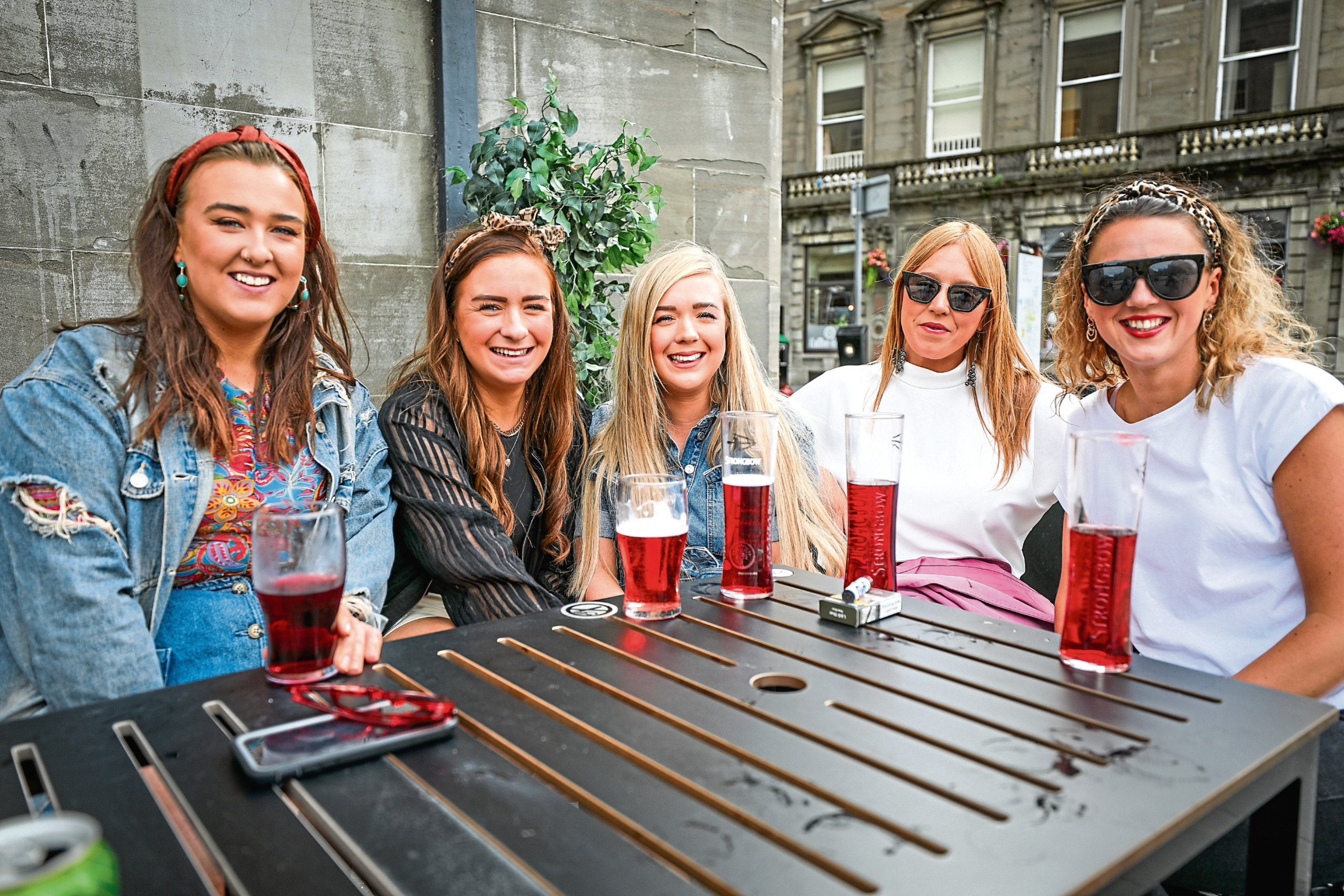 Clare Kane, Emma Storrier, Rae Glynn, Stacey Carlin and Kat Martin at the Counting House pub in Dundee.