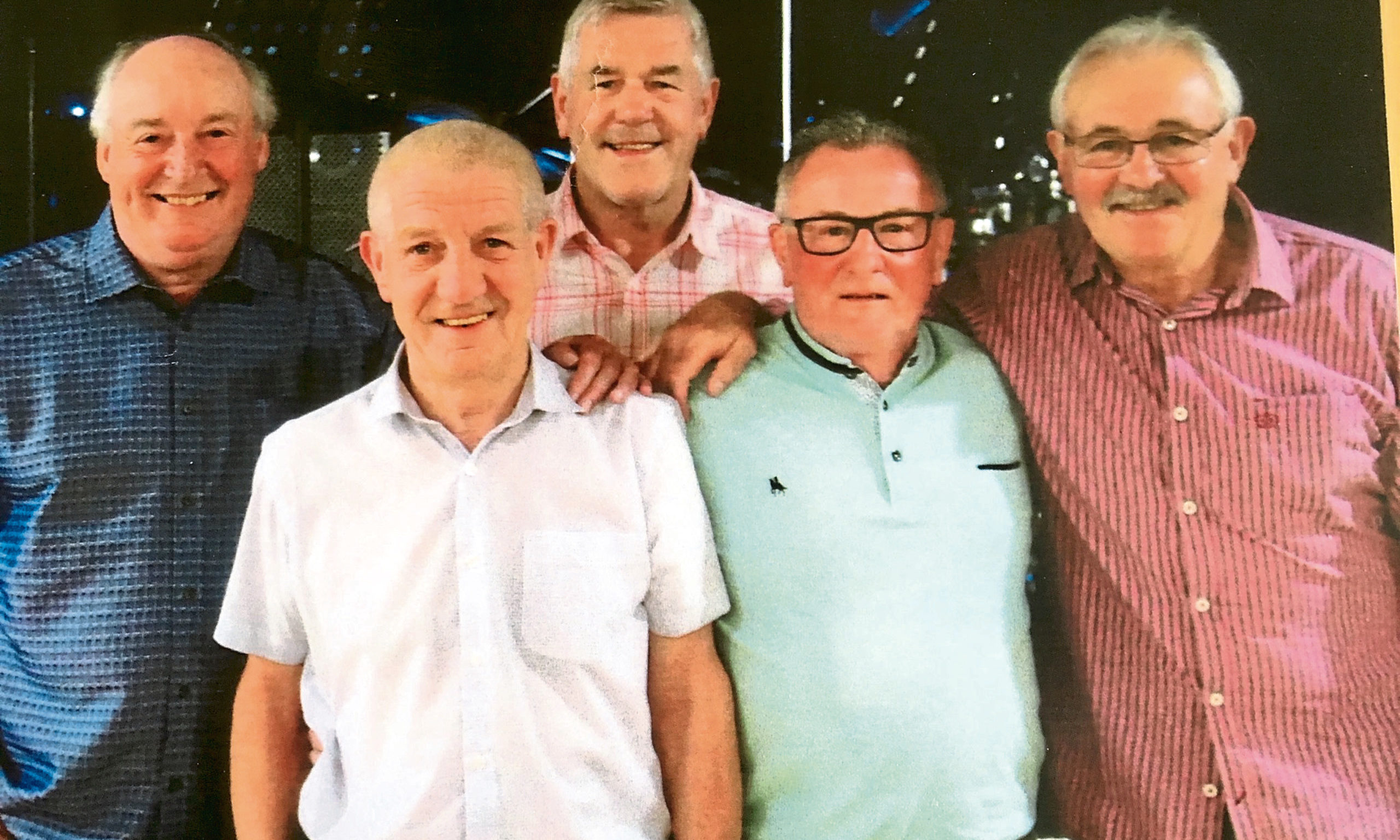 From left - Dode Watt, Willie Fraser, David 'Skip' Wright, Stan McAnearney, Dennis Elder. Pic taken in Dee Club, Lochee, Dundee.