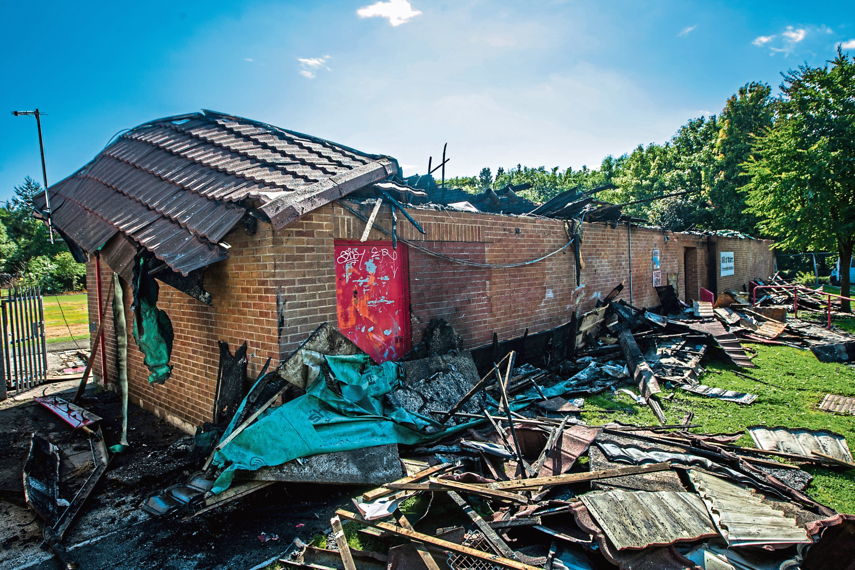 The Mill o' Mains Community Centre was destroyed in a huge blaze.