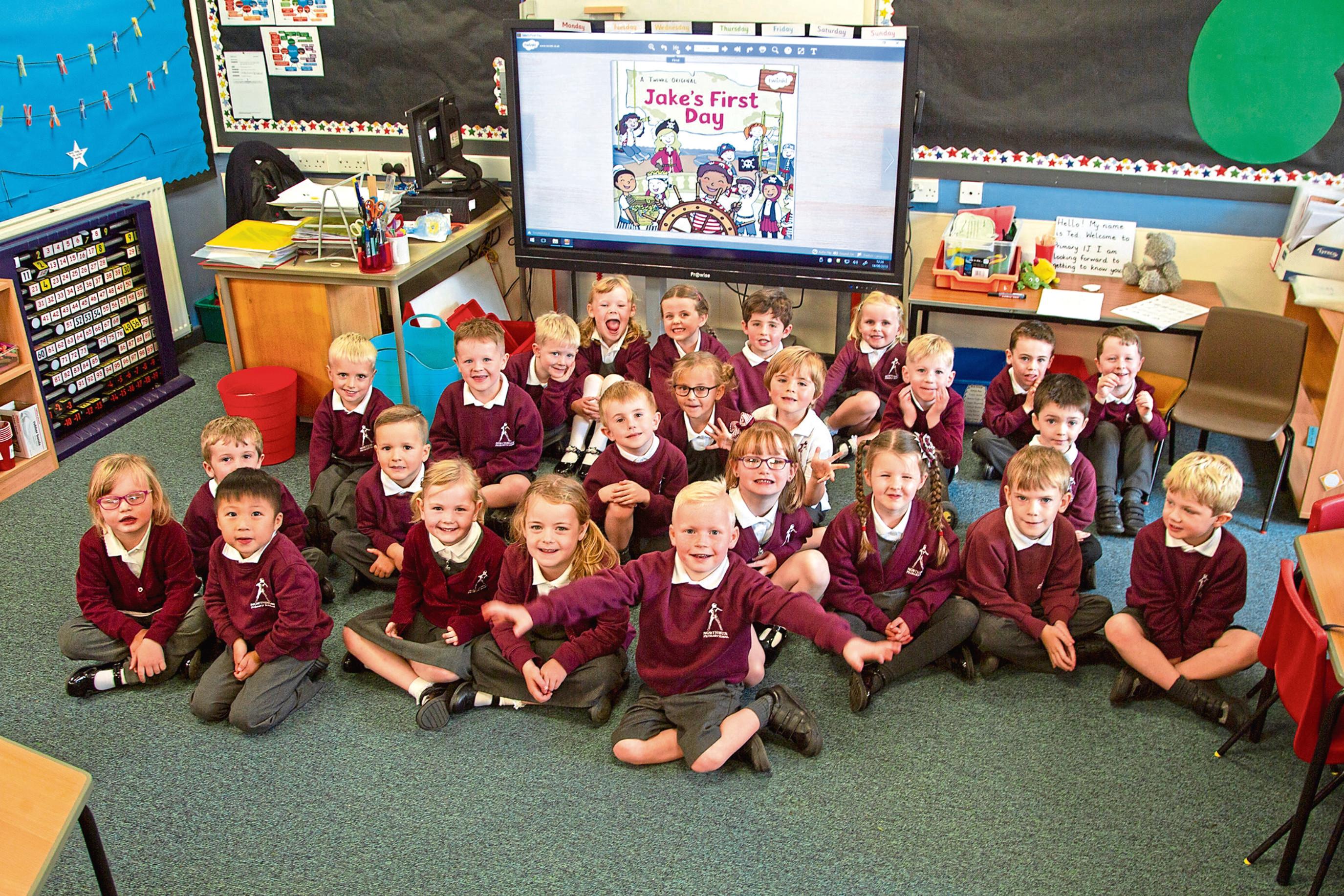 Primary ones on their first day at Northmuir Primary School, Kirriemuir.