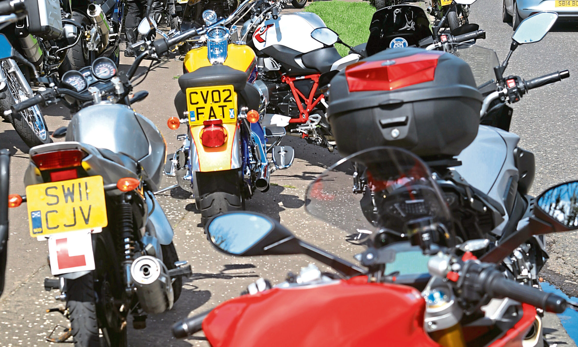 Some of the bikes outside the Crematorium in Dundee.