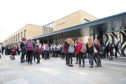 Courier News - Dundee - Paul Malik story - Pupils and parents arrived at the new Harris Academy at the start of the new school year and now includes pupils who attended the former Menzieshill High School. Picture Shows; pupils arriving at the school, Perth Road, Dundee, Friday 19 August 2016