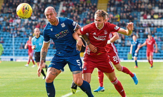 Dundee's Jordan Foster, left, competes with Ryan Hedges of Aberdeen.