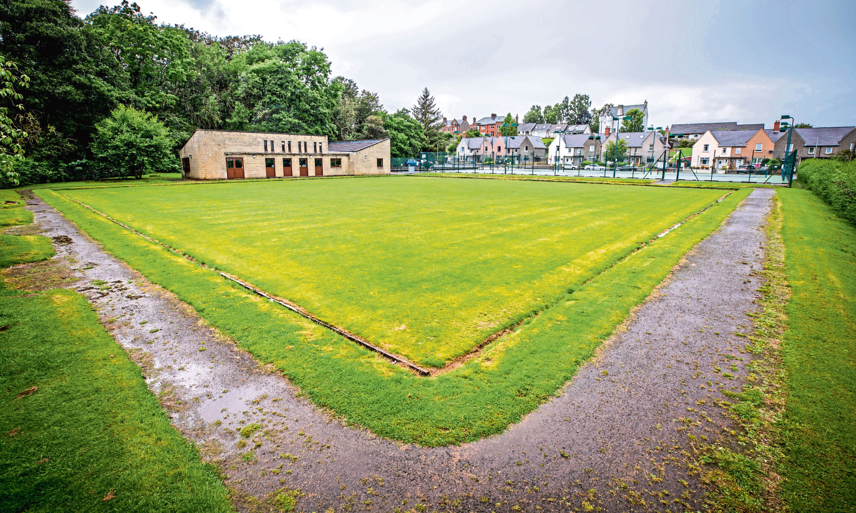 The Bowling Green at Darnhall Tennis Club, Perth is being converted into beach volleyball courts for upcoming championships.