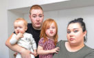 Hannah Mae (3), who almost drowned at Olympia Swimming Pool, with mum Claire Boath (24), Dad Sean Boath (25) and brother Marcus (11 months).