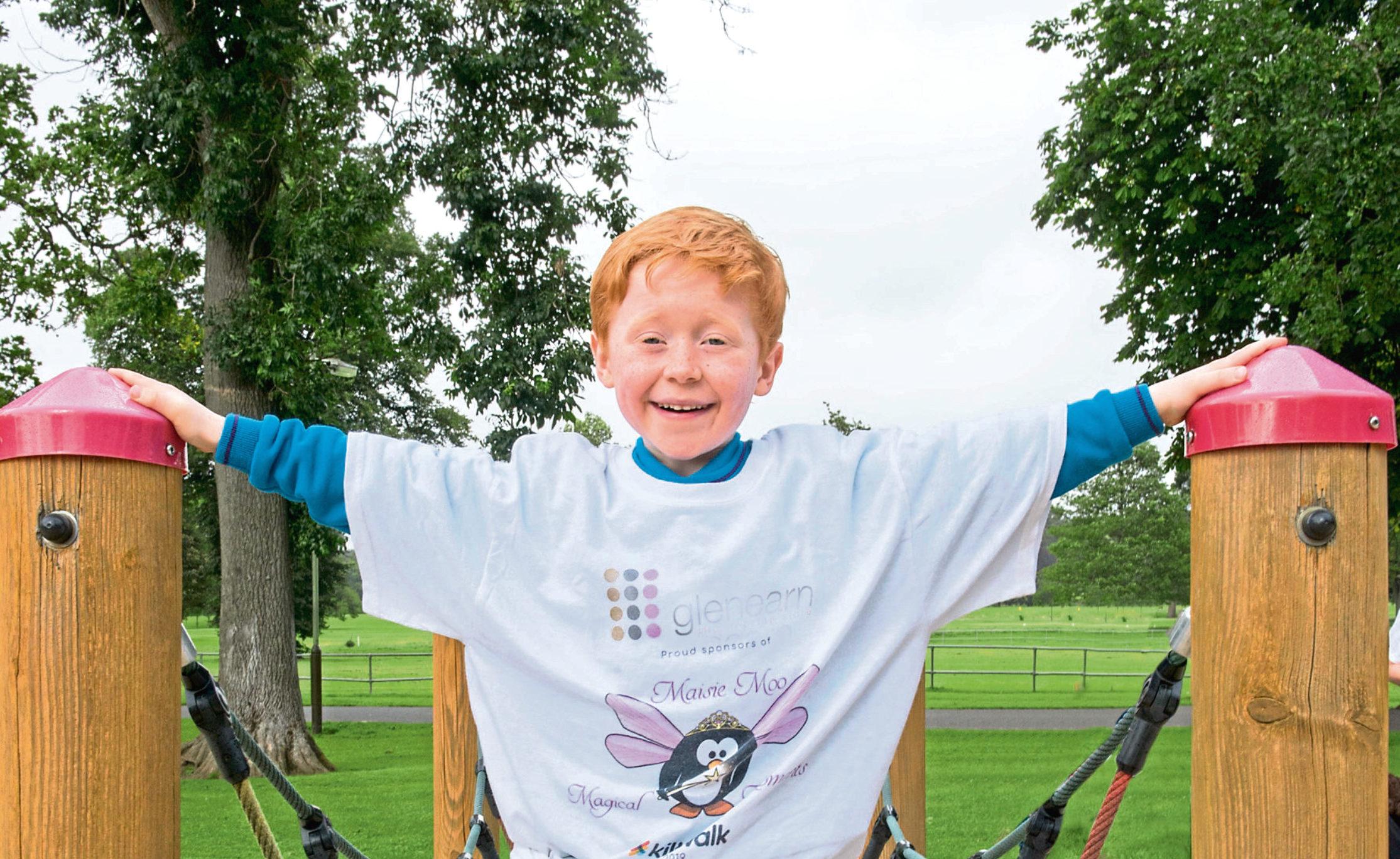 Elliott wearing his special Maisie Moo T-shirt.