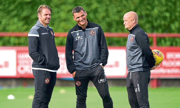 Lee McCulloch (middle), with Dundee United manager Robbie Neilson and fellow assistant coach Gordon Forrest.