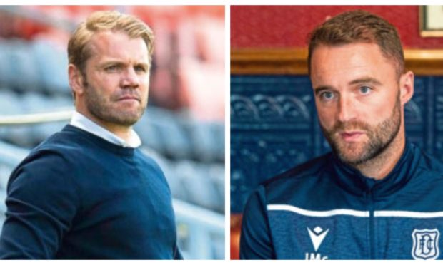 Managers Robbie Neilson and James McPake.