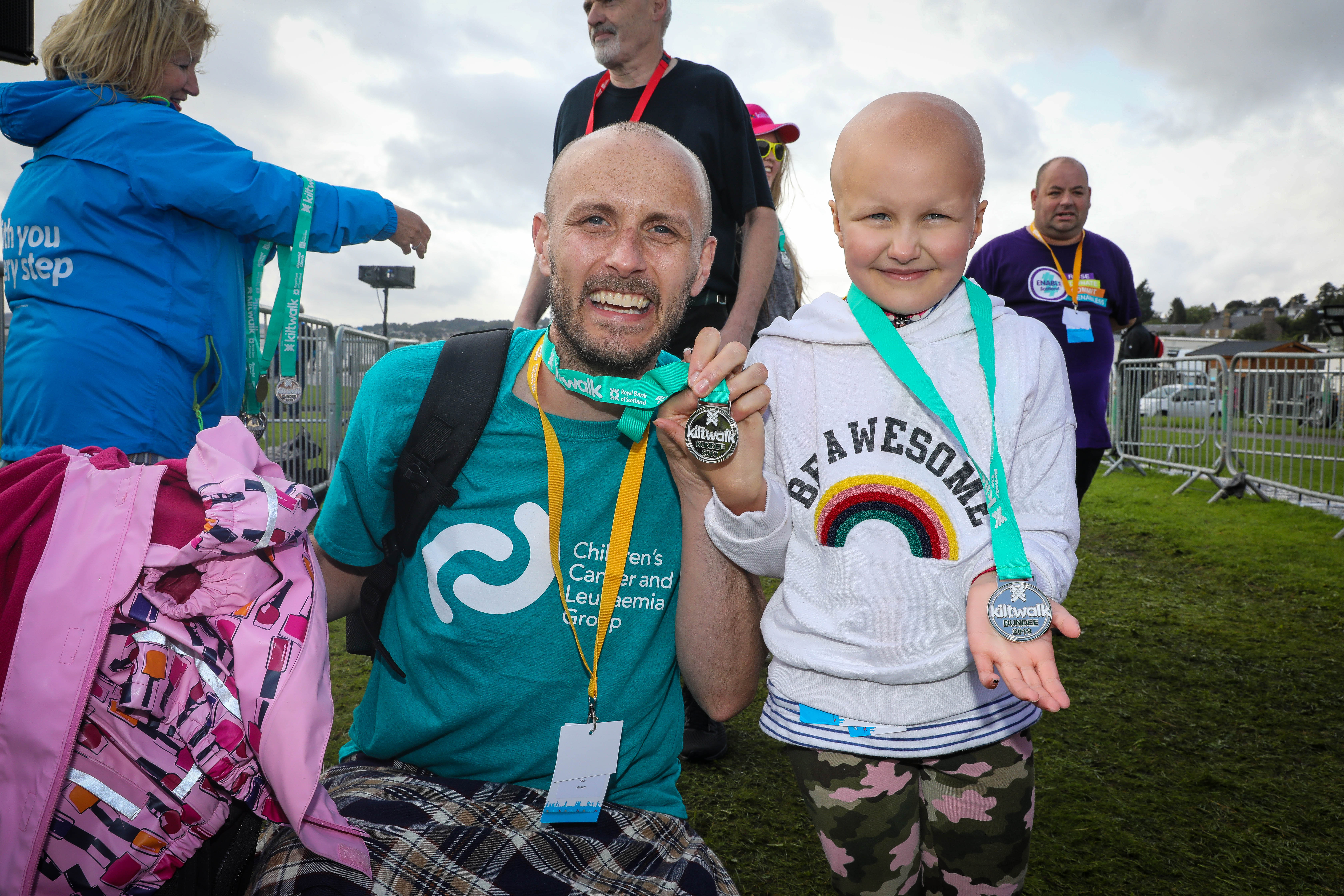 Ruby, right, wtih Dad Andy after this year's Dundee Kiltwalk.
