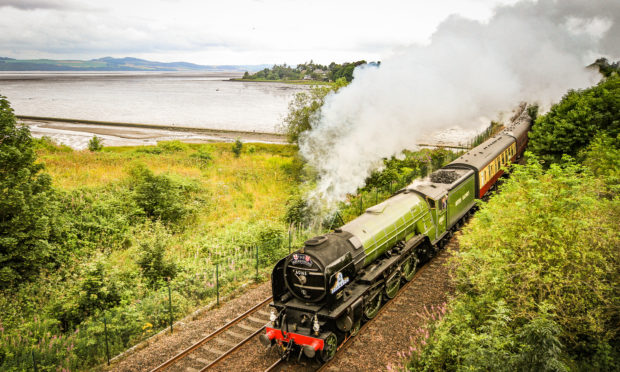 The Aberdonian steam engine travelling through Invergowrie. (Stock image).