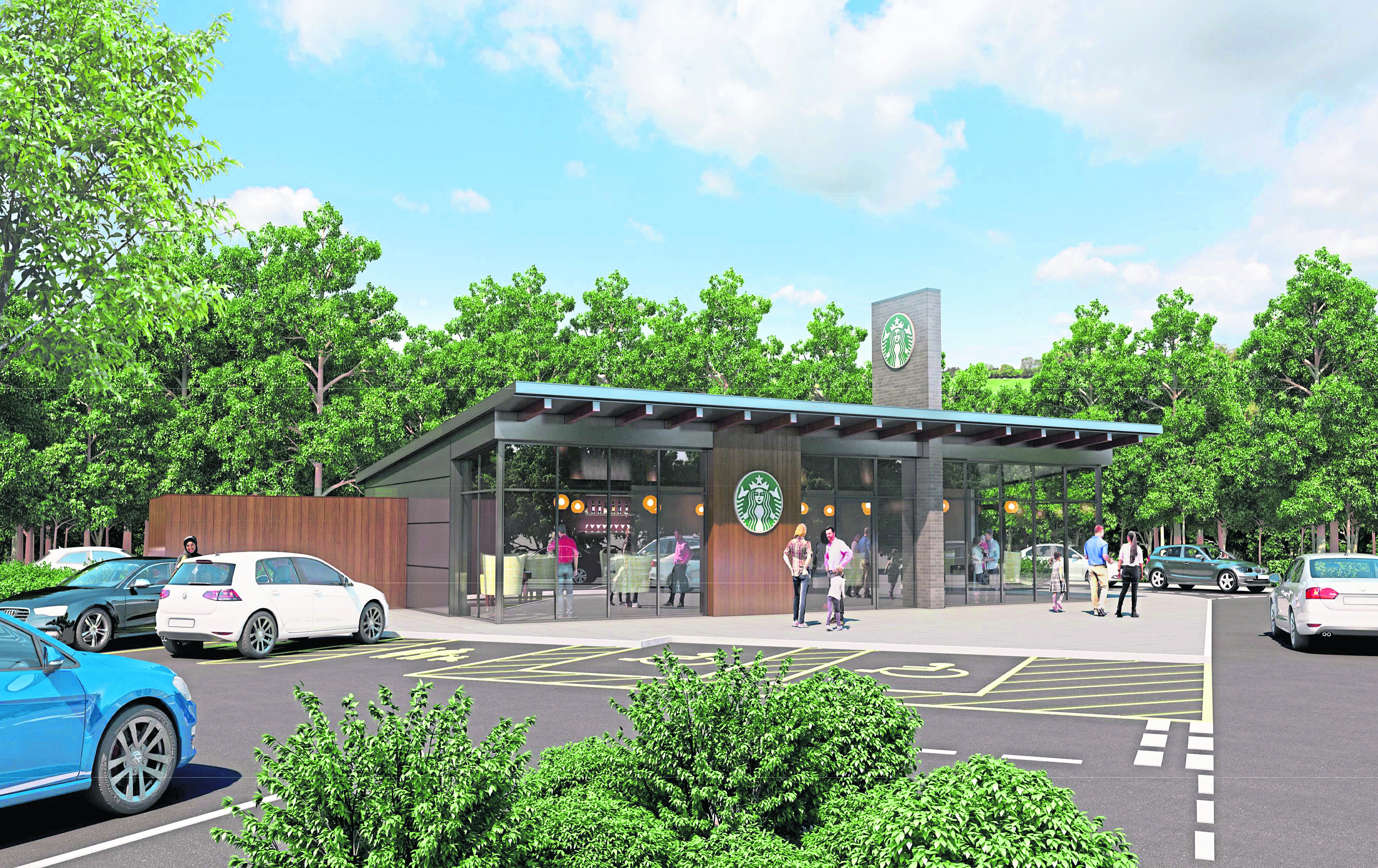 Artists illustration of a proposed new Starbucks on Afton Way, Dundee.