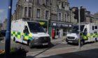 The ambulances at Broad Street, Fraserburgh.
