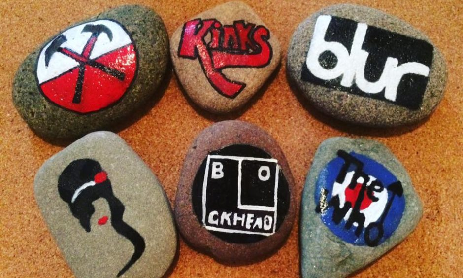 A selection of Karen's colourful rocks.
