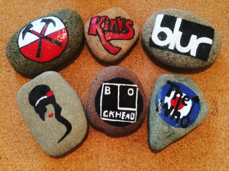 Some of Karen's designs, including the logos of The Who, Blur and The Kinks.
