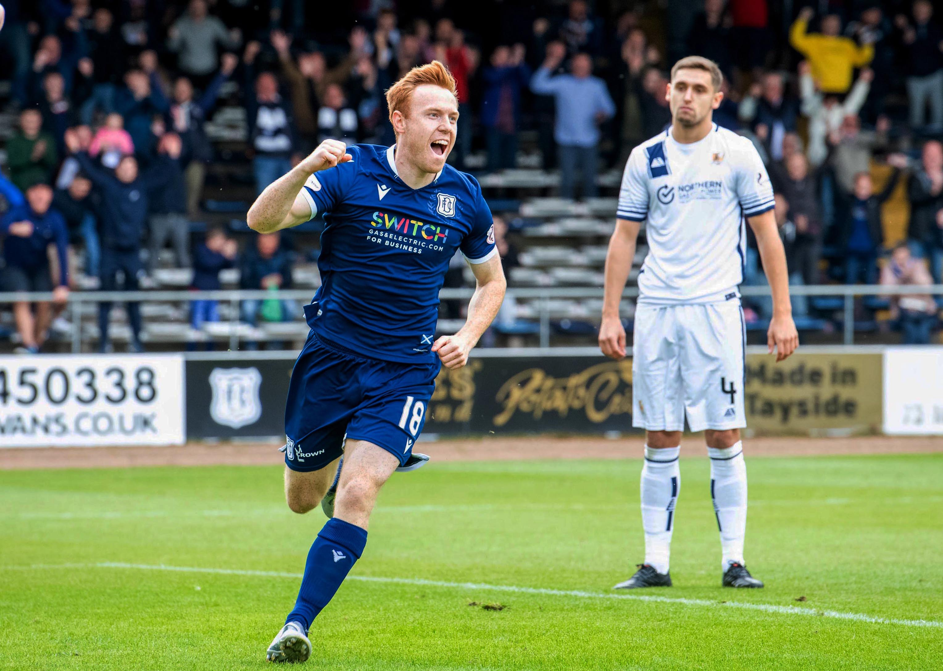 Dundee's Danny Johnson celebrates his goal during the Ladbrokes Championship match between Dundee and Allo in September.