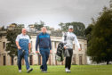 Graeme Morrison, Camperdown Golf Club member, Jamie Carlin, Camperdown club champion and Connor Syme on the 18th Hole.