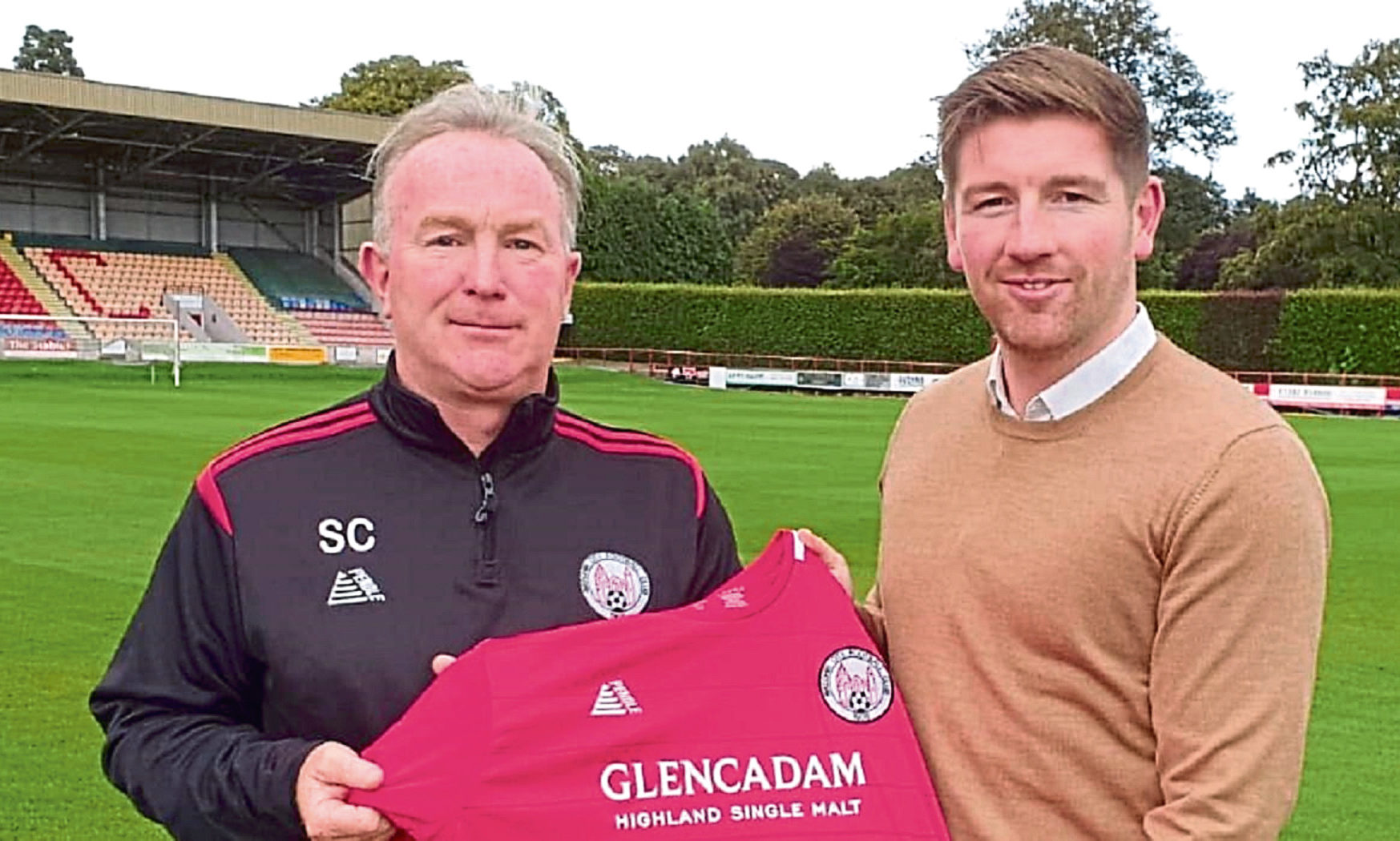 Brechin's assistant manager Stevie Campbell with Mark Wilson, when the latter was announced as the new manager at Glebe Park.