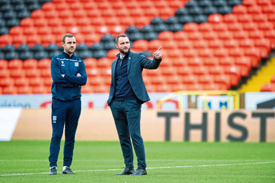 Dundee manager James McPake (R) and coach Dave McKay ahead of the Ladbrokes Championship match between Dundee United and Dundee FC.