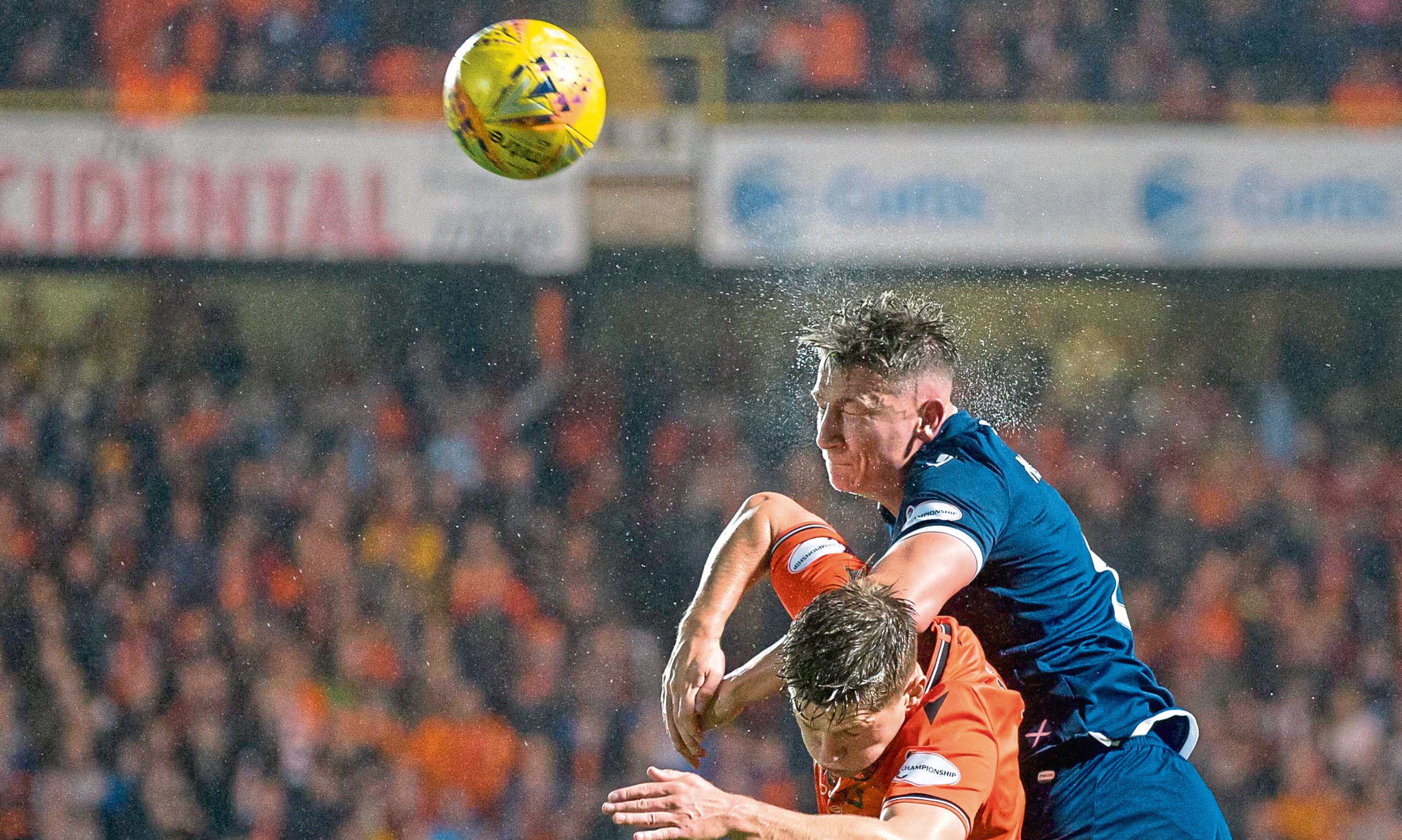 Josh Meekings of Dundee and Cammy Smith of Dundee United during the derby in August.