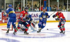 Dundee Stars in action against the Fife Flyers goal at Dundee Ice Arena.