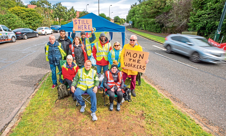 A group of the protesters near Ninewells Hospital. Ninewells Drive, Dundee on Thursday September 5.