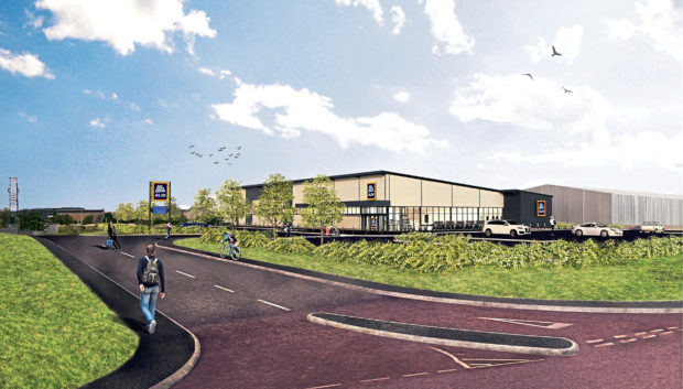 An artists impression of the proposed Aldi store.