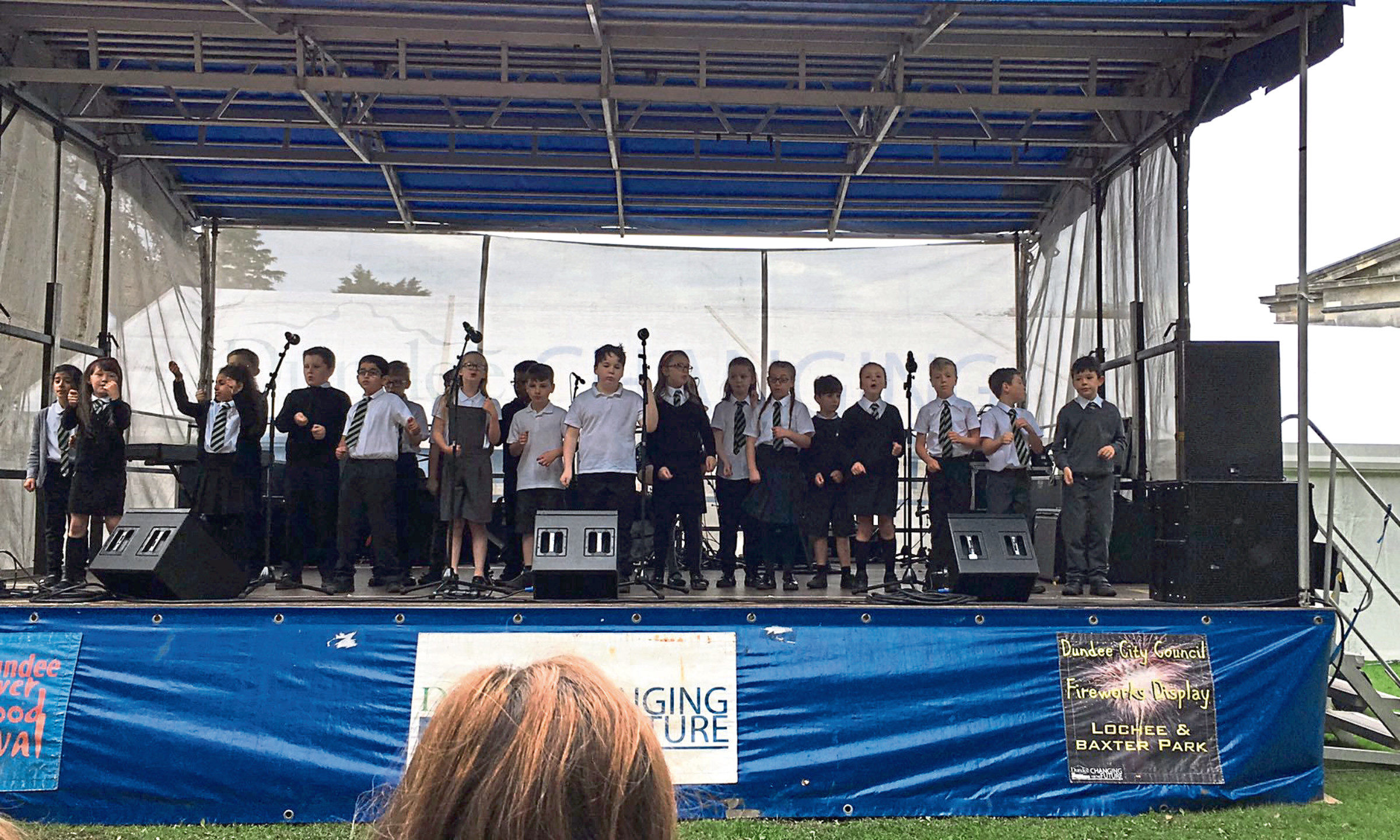 Glebelands Primary School pupils performing at the Flower and Food Festival