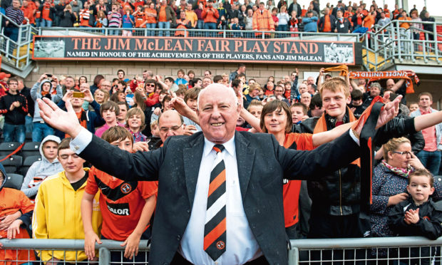 Jim McLean celebrated with fans after a stand at Tannadice was named after him.