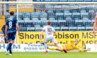 Jack Hamilton denies Alan Trouten from the penalty spot.