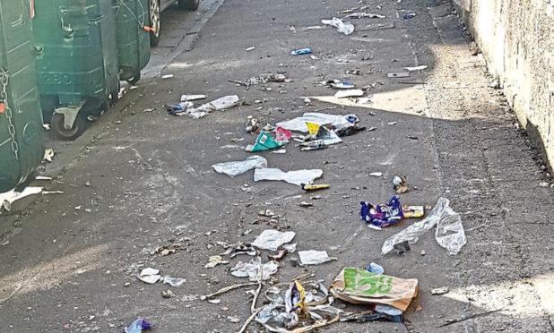 Litter lies strewn along Forest Park Road.