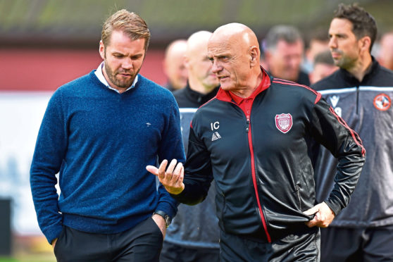 Dundee United manager Robbie Neilson with Arbroath assistant manager Ian Campbell in the sides' last meeting.