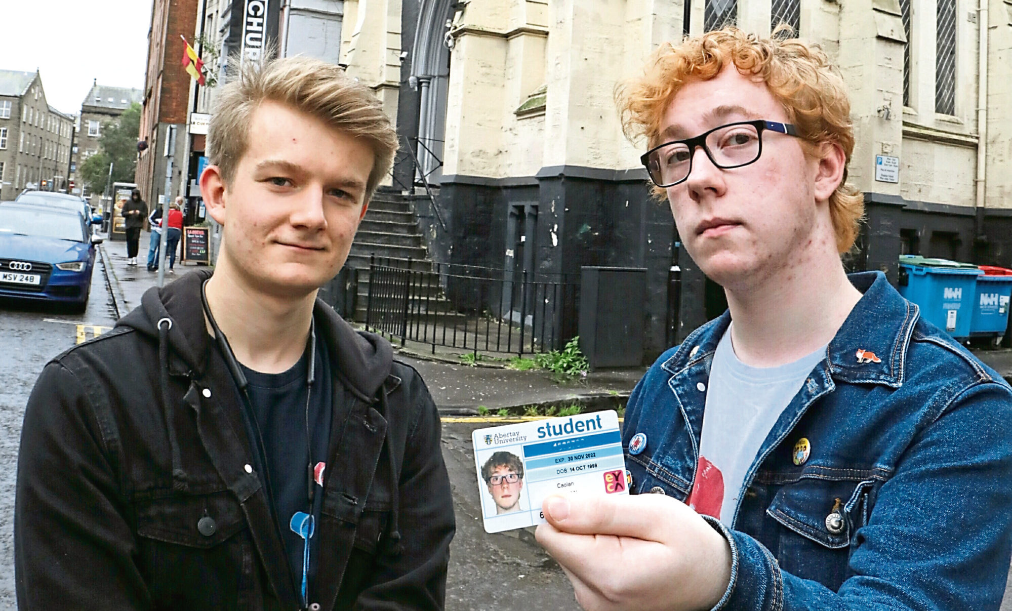 Josh Smith and Caolan Keenan were refused entry despite having valid Abertay University cards.