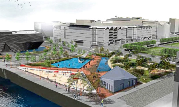 An artist's impression of the planned urban beach.