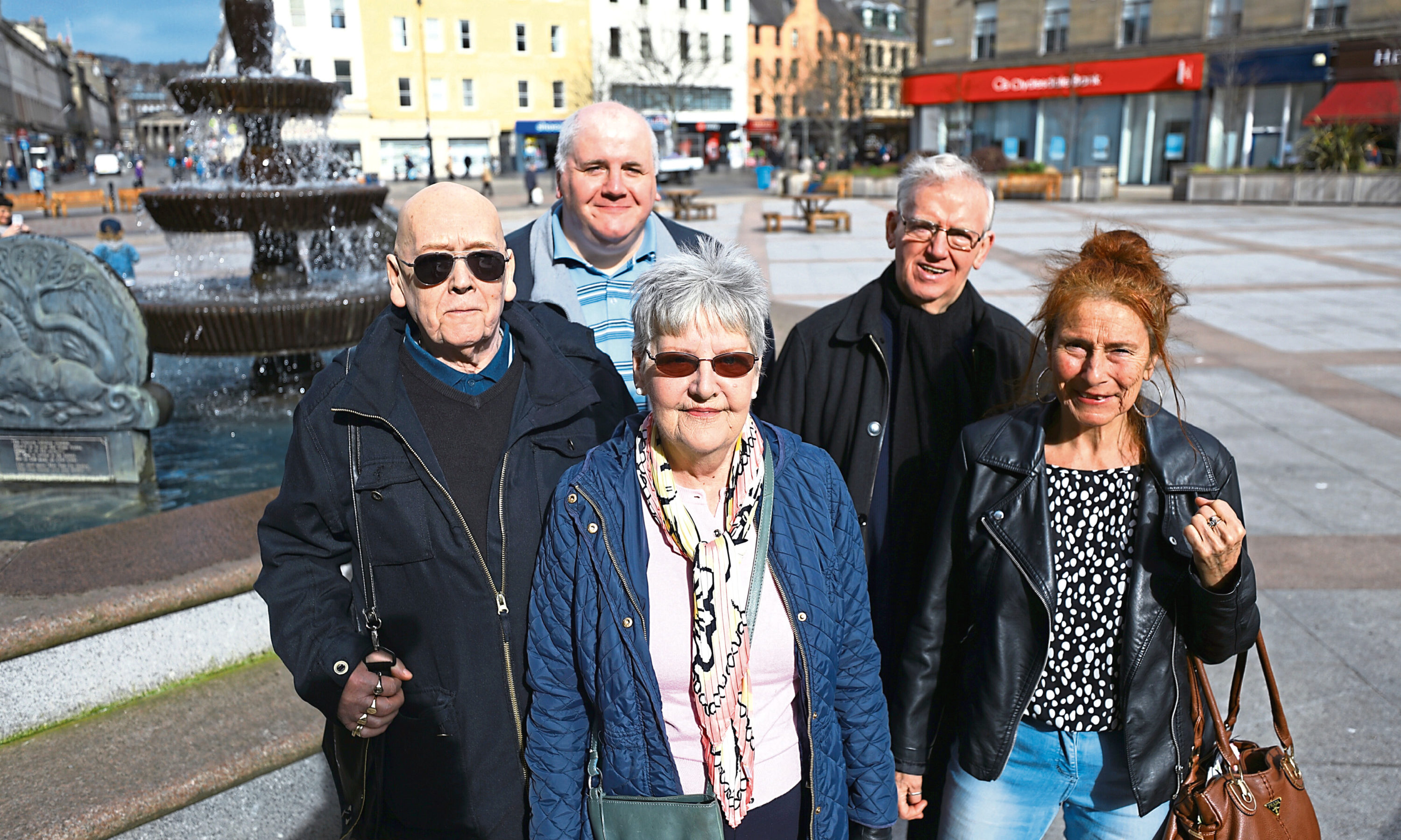 Members of the Dundee Pensioners Forum, Front: Dorothy McHugh and Barbara Myloff. Back: Jim Elder, Murray Webster and Gordon Samson.