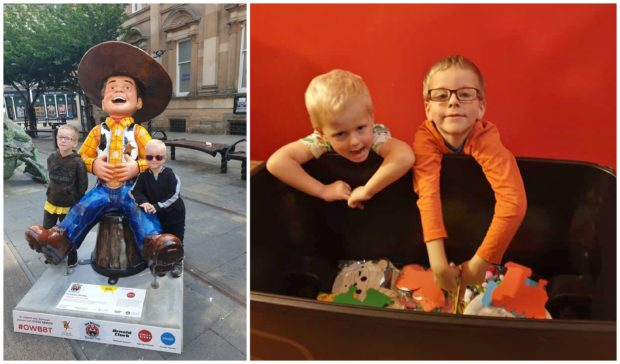 The brothers with Yeehaw Wullie during the Oor Wullie Big Bucket Trail.