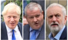The Westminster leaders of the Conservatives,  the SNP and Labour; Boris Johnson, Ian Blackford and Jeremy Corbyn.