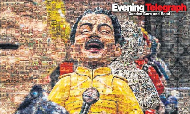 """The front cover of Fridays """"Yoor Wullie"""" selfies supplement is made up of hundreds of images taking during the Oor Wullie Big Bucket Trail."""