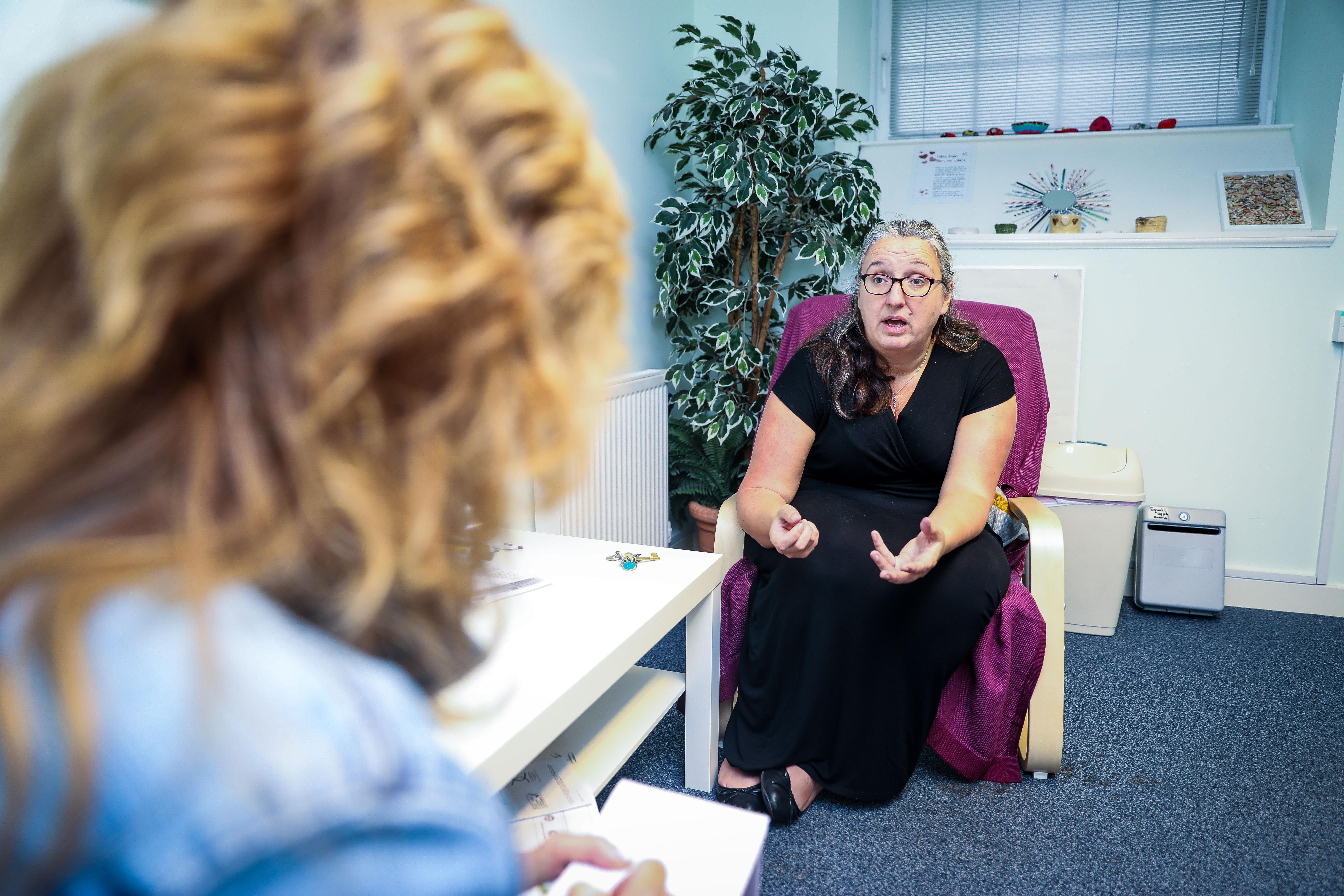 (stock image) Lindsey Hamilton interviews WRASAC manager Heather Williams.