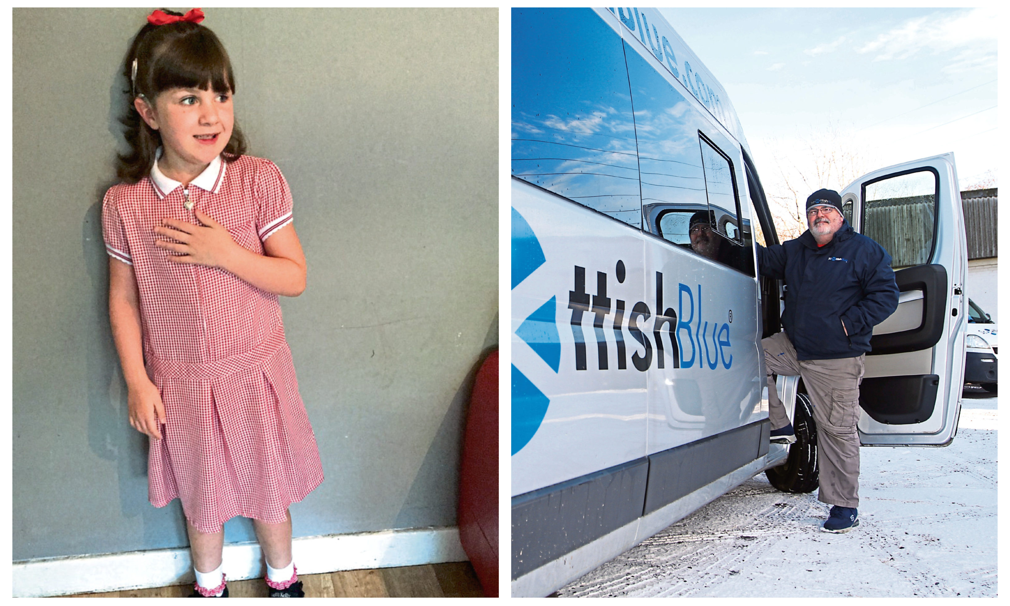 Leia Ingram, and George Scullion, of the Scottish Blue bus firm.
