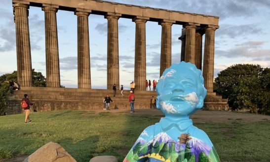The Lost in the Woods Oor Wullie on Calton Hill in Edinburgh.