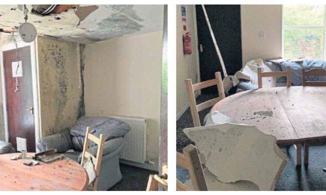 The damaged accommodation.