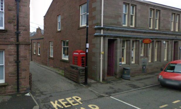 The phone box in Reform Street in Kirriemuir.