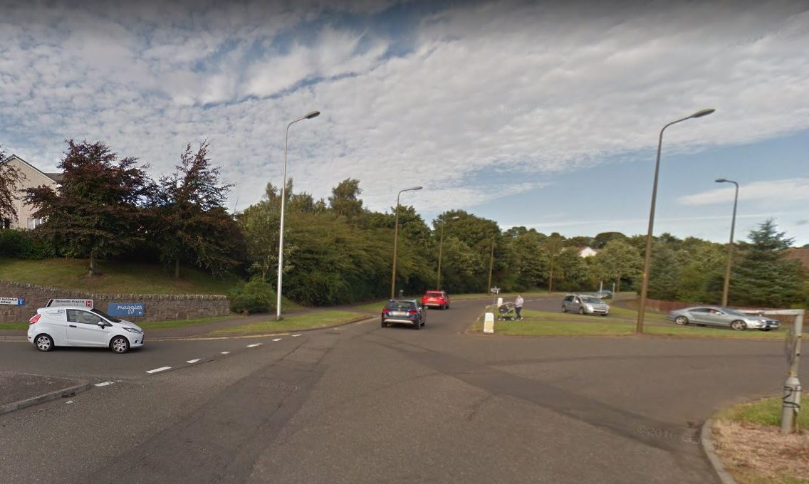 Perth Road at the roundabout where it meets Ninewells Avenue.