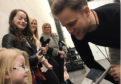 Ruby meeting pop star Olly Murs.