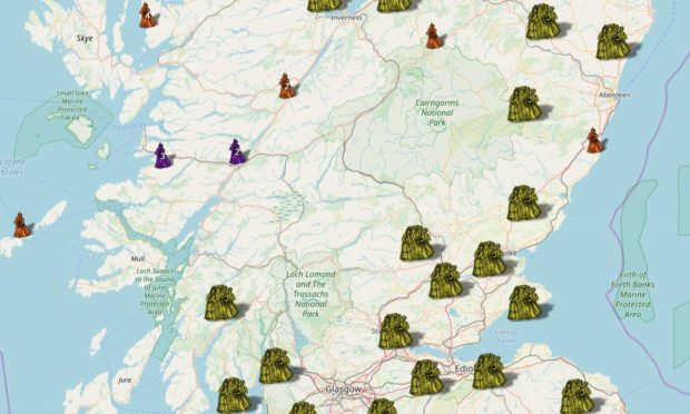 Part of the interactive map showing where witches were said to have lived in Scotland.