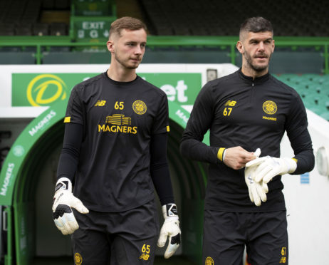 Dundee have signed Celtic's Conor Hazard (L), understudy to Fraser Forster at Parkhead.
